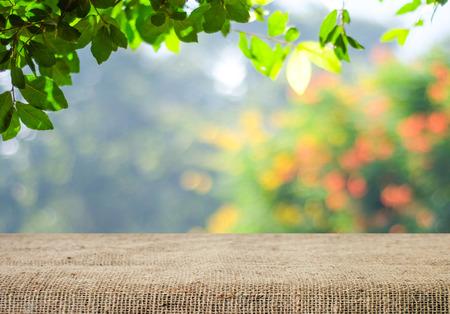 Tabella vuota e sacco tovaglia su albero con sfocatura bokeh, per l'esposizione dei prodotti montage Archivio Fotografico - 41262860