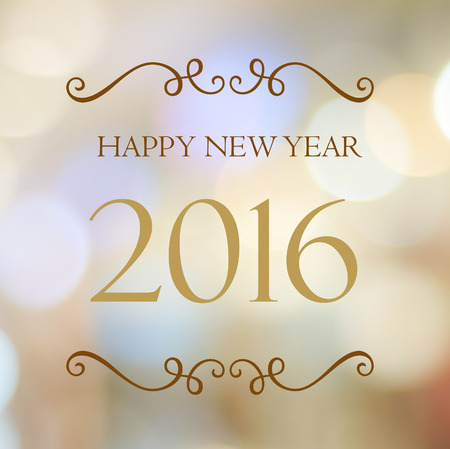 new designs: Happy New Year 2016 year on abstract blur festive bokeh background