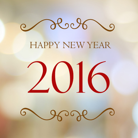 Happy New Year 2016 year on abstract blur festive bokeh background