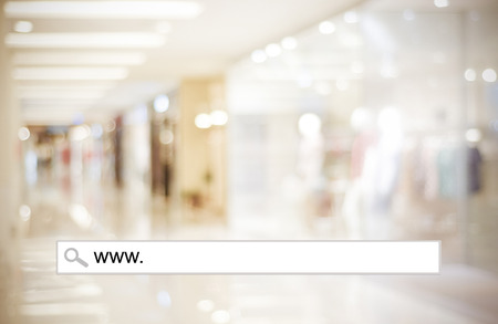 Blur store and bokeh light with address bar, online shopping background, business, E-commerce