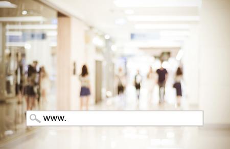 Blur winkel en bokeh licht met adresbalk, online winkelen achtergrond, business, E-commerce Stockfoto