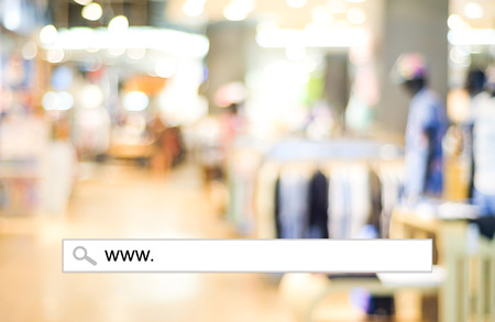 online business: Blur store and bokeh light with address bar, online shopping background, business, E-commerce