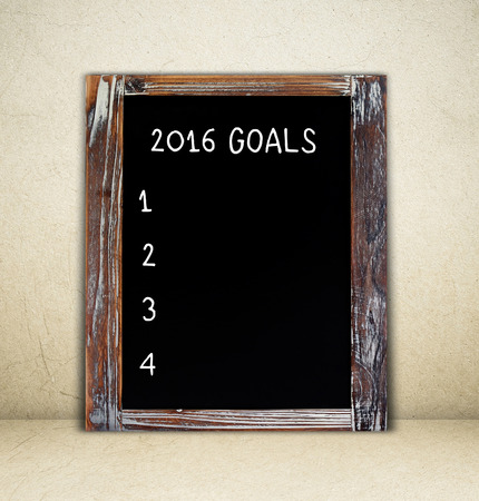 attain: 2016 Goals ,writing on chalkboard background, template Stock Photo