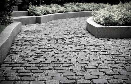piso piedra: Pavimento de piedra en el parque, fondo, vintage filtra Foto de archivo