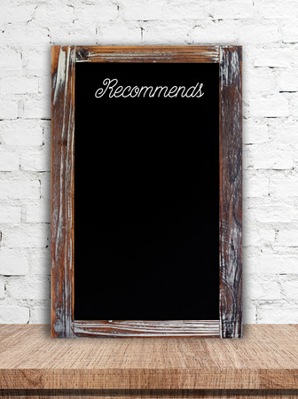 recommend word on vintage chalkboard background template mock