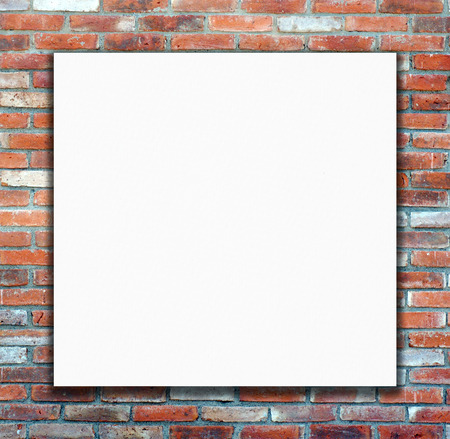 backdop: Blank white poster on brick wall background, backdop, wallpaper Stock Photo