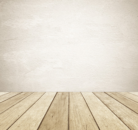 Brown grunge cement wall and perspective vintage wood background