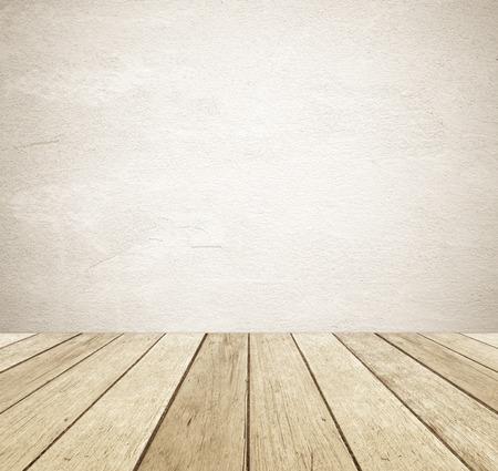 Brown grunge betonnen muur en perspectief vintage houten achtergrond