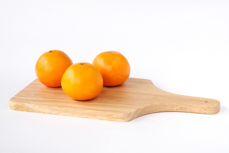 valencia orange: Oranges on wooden tray isolated on white backgound, Fresh friut