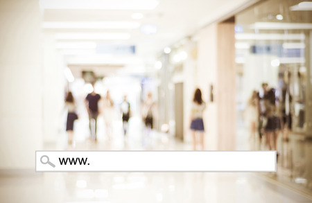 Word www. written on search bar over blur store background, web banner, online shopping background, business, E-commerce 스톡 콘텐츠