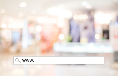 word www: Word www. written on search bar over blur store background, web banner, online shopping background, business, E-commerce Stock Photo