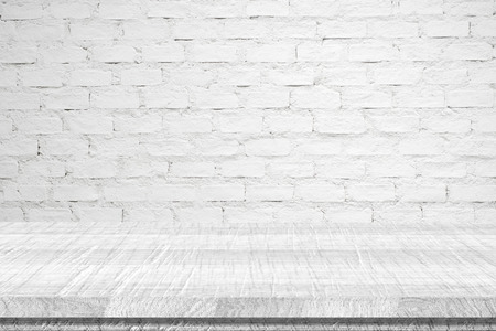 Empty white vintage wooden table over white brick wall background, vintage, background, template, display