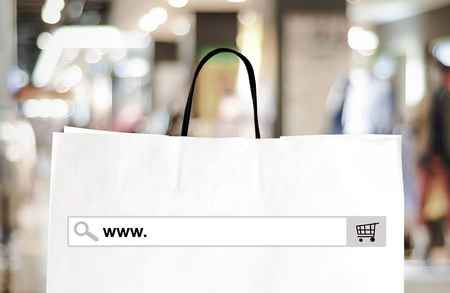 word www: Word www. on search bar over shopping bag and blur store background, online shopping background, business, E-commerce, web banner Stock Photo