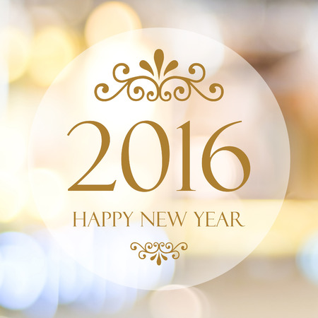 card design: Happy New Year 2016 year on abstract blur festive bokeh background