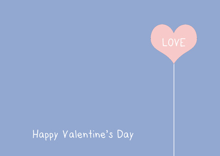 quart: Love word on pink, rose quart, heart shape over blue, serenity, background, valentines day concept Stock Photo