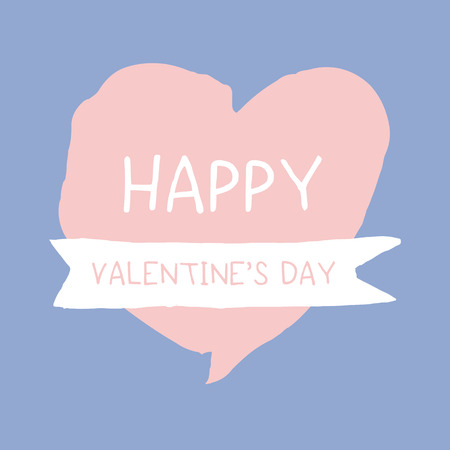 serenity: Happy valentines day word on pink, rose quart, heart shape over blue, serenity, background