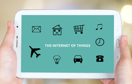 nternet: The internet of things on tablet screen, technology and digital marketing concept Stock Photo