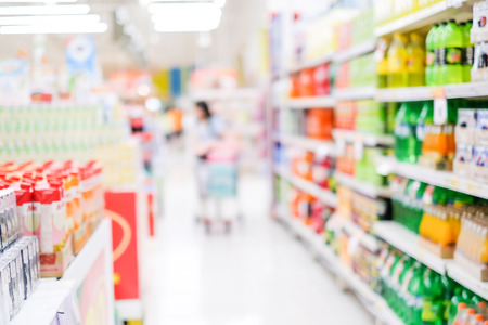 store interior: Supermarket blur background with bokeh light ,Product shelf