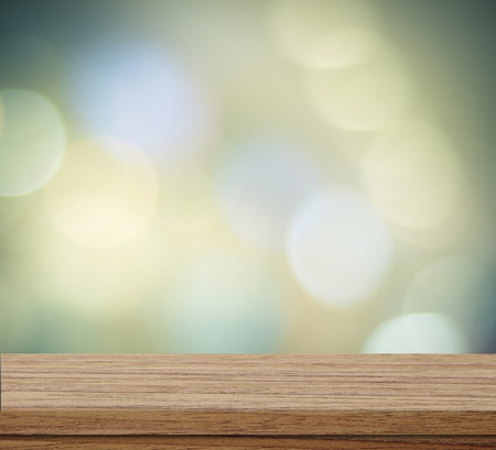 wood shelf: Empty table over blur festive bokeh background, product display
