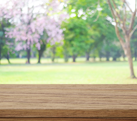 green background: Empty wood table over blurred trees with bokeh background, spring and summer season Stock Photo