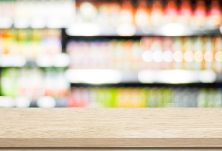 shelf: Empty table over blur supermarket with bokeh background, Product shelf