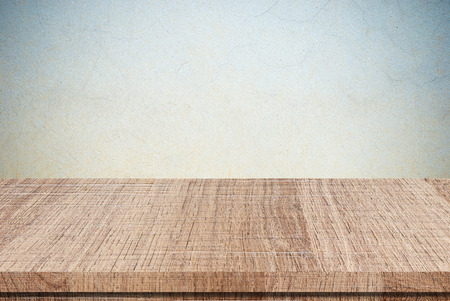 grunge wood: Empty wooden table over grunge cement wall, Product display, template