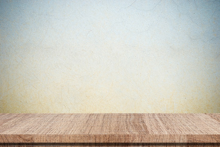 old desk: Empty wooden table over grunge cement wall, Product display, template