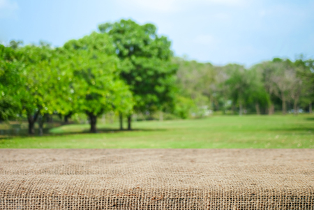 picknick: Empty table and sack tablecloth over blur park with bokeh background, for product display montage