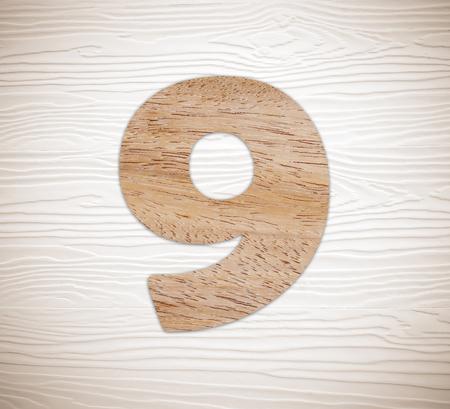 numero nueve: Wooden number nine on vintage white wood background