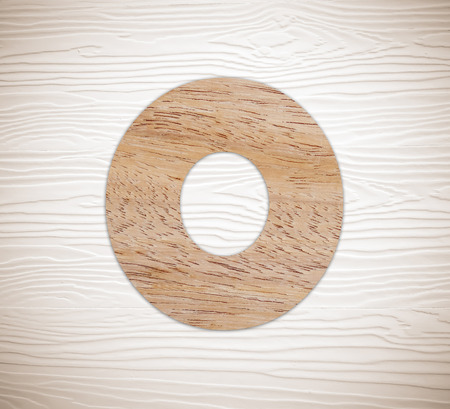 number zero: Wooden number zero on vintage white wood background Stock Photo