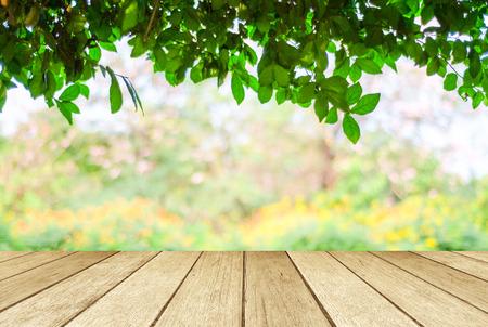 Perspectiva de madera sobre árboles de desenfoque con fondo bokeh, primavera y verano