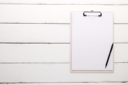 paper sheets: White clipboard with blank paper and pen on vintage white wood background, template, mock up