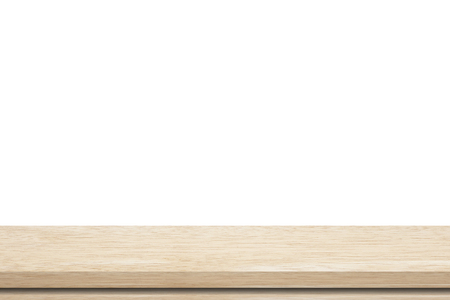 montage: Empty wood table isolated on white background, product display montage