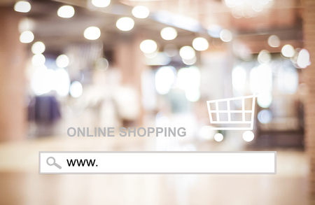 address bar: Blur store and bokeh light with address bar, online shopping background, business, E-commerce