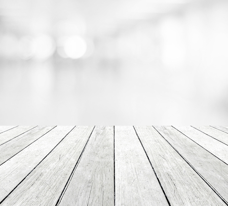 Perspective wood and blur abstract bokeh light background, product display montage Stockfoto