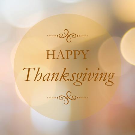 Happy thanksgiving on blur bokeh background, banner Stock Photo