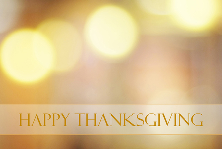 Happy thanksgiving on blur bokeh background, banner Stock Photo