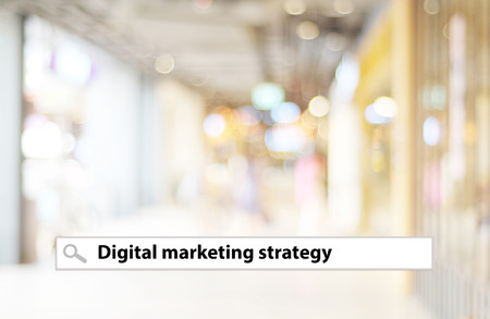 businees: Digital marketing word on search bar over blur background, digital marketing concept, businees and technology