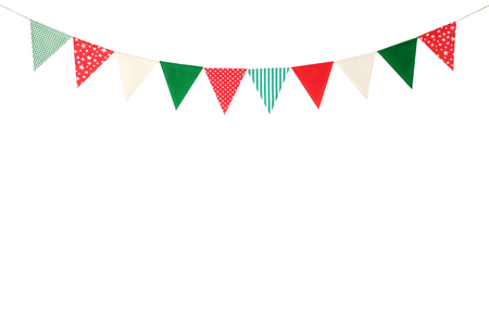 Hanging party flags isolated on white background, decorate items for festival, celebrate event, Christmas and new year background