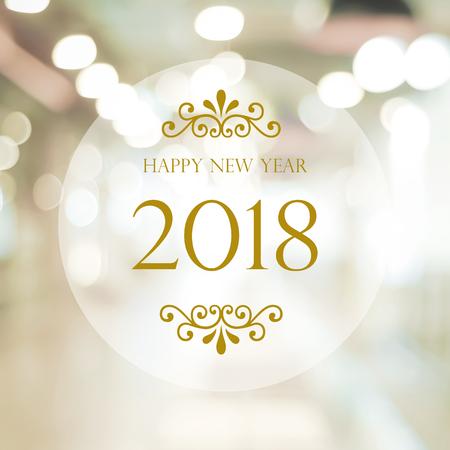 Guten Rutsch ins Neue Jahr 2018 auf festlichem bokeh Hintergrund der abstrakten Unschärfe, Fahne Standard-Bild