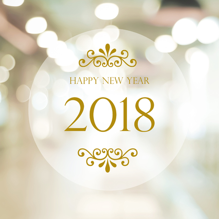 Happy New Year 2018 on abstract blur festive bokeh background, banner