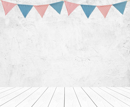 Colorful bunting party flags hanging on empty white wall and perspective wood background, decorate items for festival, celebrate event background, holiday greeting card