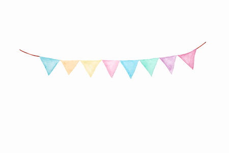 Colorful party bunting flag watercolor drawing isolated on white background, Holiday greeting card background