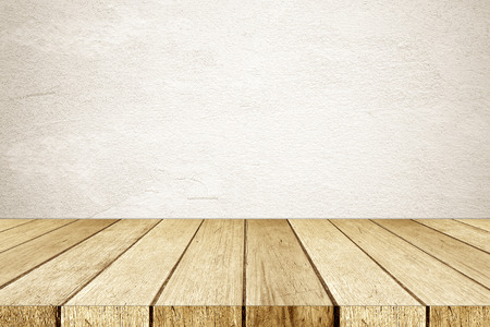 Empty perspective wood and brown cement wall background, room, table top, shelf for product display montage background, mock up, vintage style