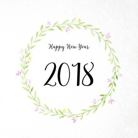 Bonne année 2018 sur la main peinture fleurs guirlande dans un style Aquarelle sur fond de papier blanc, carte de voeux de fleurs Couronne nouvel an Banque d'images - 88144296