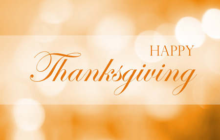 Happy Thanksgiving on blur abstract background, greeting card, banner Stock Photo