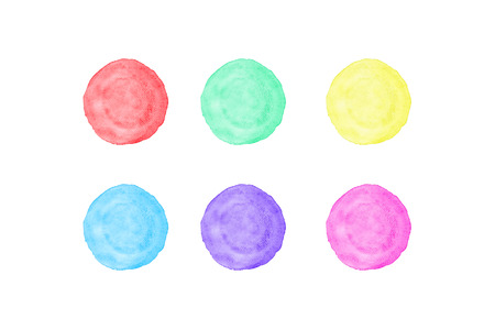 Green, red, yellow, purple, blue and pink circle watercolor painting textured on white paper isolated on white background