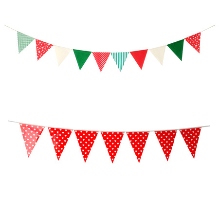 Hanging party flags isolated on white background, decorate items for festival, celebrate event