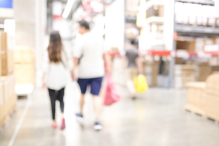 Blurred business background, Blur people shopping at warehouse with bokeh light background
