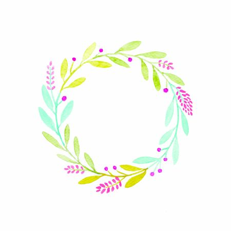 Watercolor illustration art design, Flower wreath in watercolor hand pianting style isolated on white background, pattern element for invitation greeting card Zdjęcie Seryjne